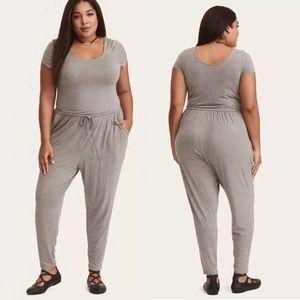 ea14ffe5080 Torrid Gray Jersey Knit Short Sleeve Jumpsuit